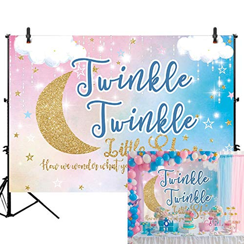 Allenjoy 7x5ft Twinkle Twinkle Littler Star Gender Reveal Backdrop Pink or Blue Boy or Girl Party Photography Background Gender Surprise Photo Banner for Baby Shower Photobooth Cake Table Decoration ()