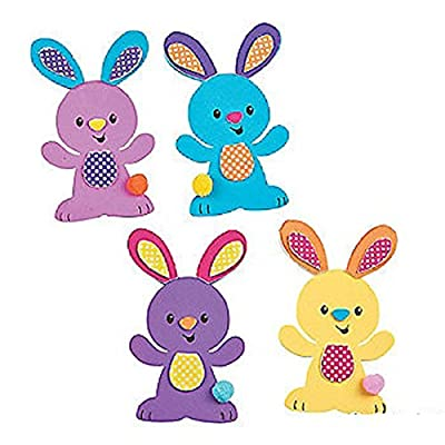"Easter Bunny Magnet Foam Craft Kit ~ Makes 12 Magnets ~ Approx. 3"" X 4 3/4"" ~ Foam Stickers ~ New"