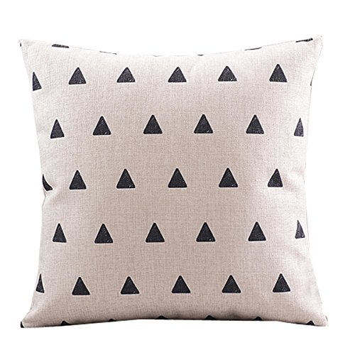 "CoolDream Cotton Linen Decorative Pillowcase Throw Pillow Cushion Cover Square 18"" Retro Small Up Triangle"