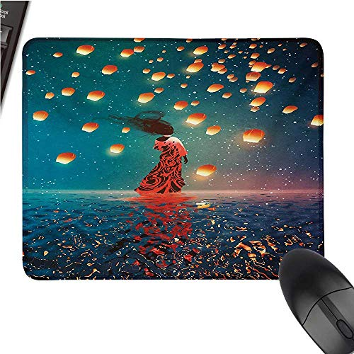 FantasyOffice Mouse PadSorcerer Woman with Red Dress Standing on Water with Lanterns on Air Fantasy ArtWaterproof Mice Pad 9.8