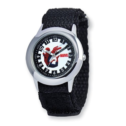 Marvel+Watches Products : Marvel Spiderman Black hook-and-loop Band Time Teacher Watch: Length 7 in