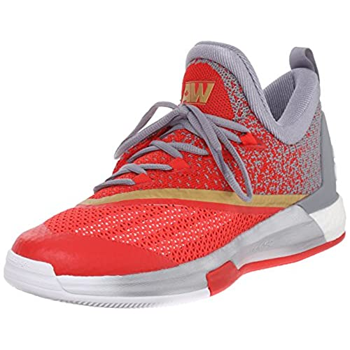 adidas Performance Men's Crazylight Boost 2.5 Low Basketball Shoes,White/ Grey/Vivid Red,8 M US