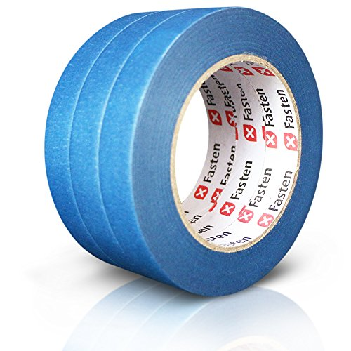 XFasten Professional Blue Painters Tape, Multi-Use, 3/4 Inches x 60 Yards (Pack of 3)