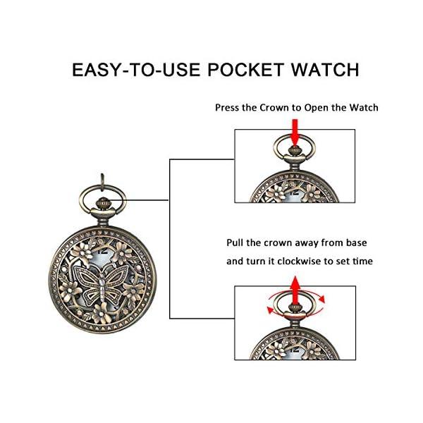 JewelryWe Retro Design Bronze Butterfly Flower Openwork Cover Pocket Quartz Watch with 31.5 Inch Chain for Valentine's Day