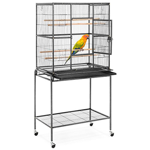 Best Choice Products 53in Portable Iron Pet Parrot Bird Cage w/Rolling Stand, 2 Wooden Perches, 4 Feeding Bowls & Doors
