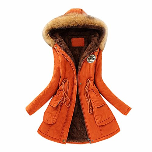 JESPER Womens Warm Long Coat Fur Collar Hooded Jacket Slim Winter Thickened Parka Outwear Coats Orange (Black Leather Jacket With White Fur Collar)