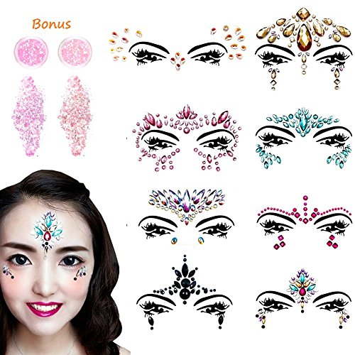 Face Gems Glitter - 8 Sets Mermaid Face Jewels Rhinestone Tattoo Face Glitter Bindi Crystals Rainbow Tears Face Gems Stickers Fit for Festival Party by LanGui