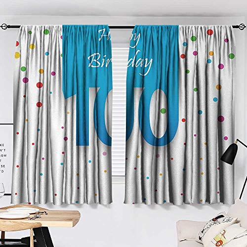 Jinguizi 100th Birthday Curtains/Panels/Drapes Birthday Party Wish for 100 Years Old with Colorful Dots Happiness Image Indoor Darkening Curtains Multicolor W55 x L39 by Jinguizi (Image #1)