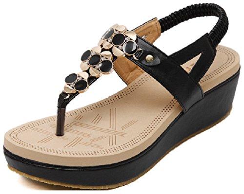 Summer Womens 02 Black Sandals Gladiator Sandals Hanxue Beach xaw5qdx4