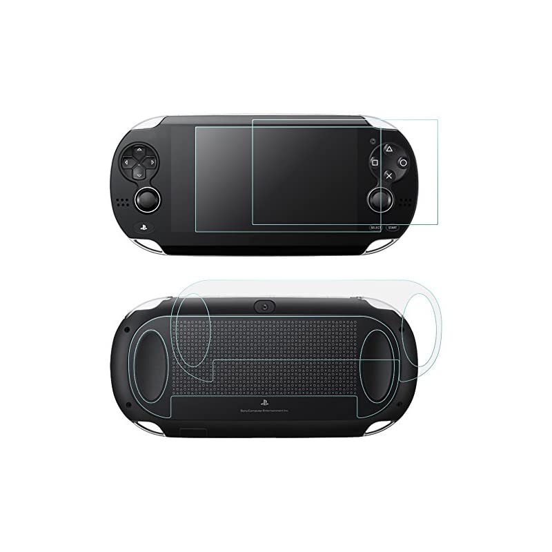 Screen Protectors Compatible Sony PlayStation Vita 1000 & Back Covers, AFUNTA 2 Pack (4 Pcs) Tempered Glass for Front Screen & HD Clear PET Film Compatible the Back PS Vita PSV PCH-1000 Film Accessory