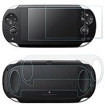 Protectores de pantalla para Sony PlayStation Vita 1000 con cubiertas traseras, AFUNTA 2 Pack (4 piezas) de vidrio templado para pantalla frontal y HD Clear película de PET para la parte posterior, PS Vita PSV PCH-1000 accesorio de película