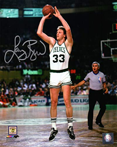 Larry Bird Signed Boston Celtics White Jersey Jump Shot 8x10 ()