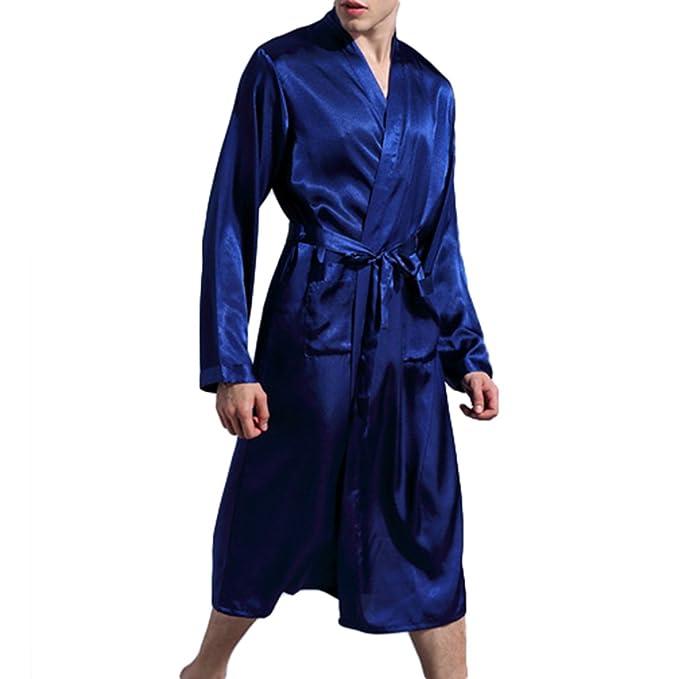 Juleya Bata De Baño Suave De Lujo De Los Hombres Bata De Casa Con Cinturón De Longitud De La Rodilla Pijamas De Dormir Elegante: Amazon.es: Ropa y ...