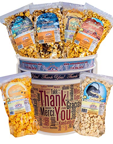 Popcorn by Colorado Kernels Popcorn Delights | 3.5 Gal THANK YOU Bucket with 6 lg resealable bags | Kettle Corn, Cheddar Cheese, Caramel, Chocolate, Almonds/Pecans, Buffalo Ranch