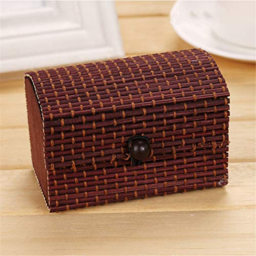 Maikouhai Bamboo Wooden Jewelry Organizer Storage Strap Craft Treasure Case Box - 10x7x7cm (F) from Maikouhai