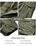 Men Tapered Cargo Pants Slim Fit Chino Joggers Work Trousers with Pockets Army Green 36