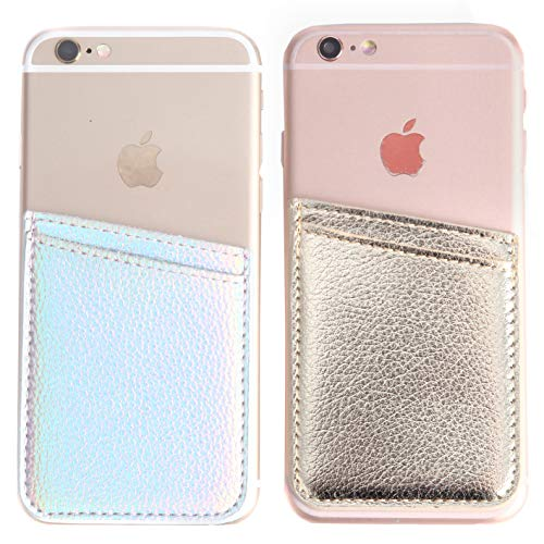 (2Pack PU Leather Phone Pocket,Cell Phone Stick On Card Wallet,Credit Cards/ID Card Holder(Double Secure) with 3M Sticker for Back of iPhone,Android and All Smartphones-Silver&Gold)
