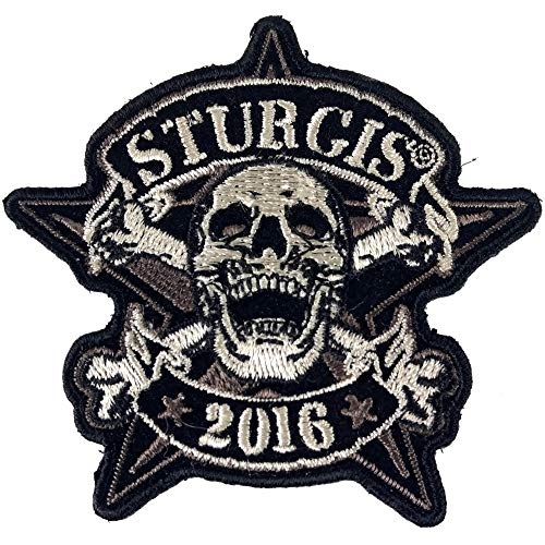 Sturgis 2016 Motorcycle Rally Patch - Skull and Cross Bones - Iron on Patch - 3x3 inch