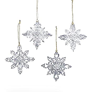 Amazon.com: Kurt Adler Snowflake Christmas Ornaments 4 Assorted ...