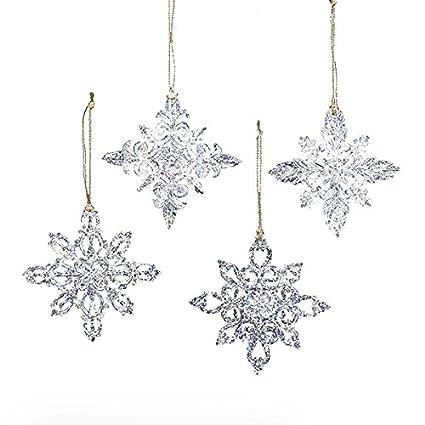 kurt adler snowflake christmas ornaments 4 assorted
