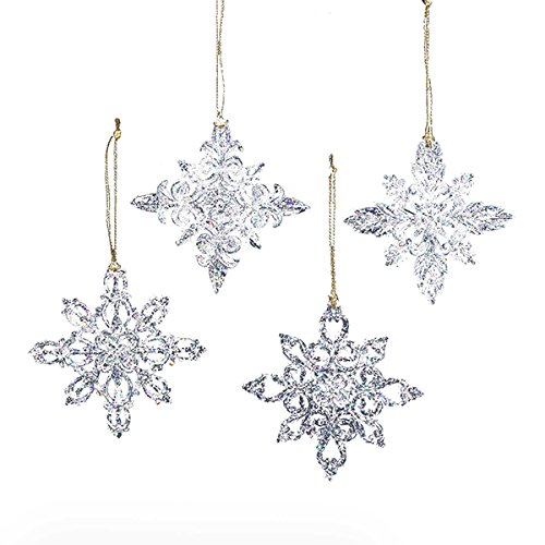 Kurt Adler Acrylic Snowflake Ornament Set OF 12
