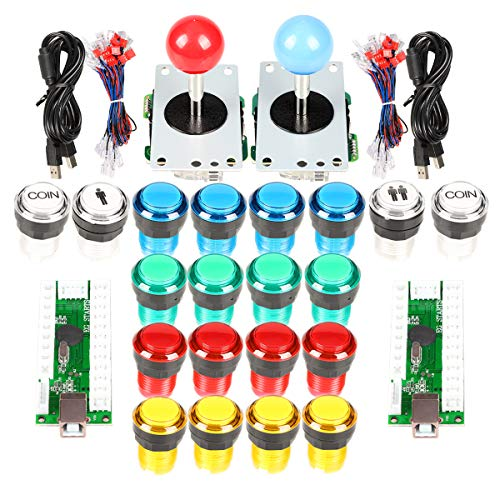 Classic Arcade DIY USB Encoder to PC Joystick Games + 2x 5Pin Rocker + 16x 30mm 5V LED Push Buttons 1 + 2 Players Coin Buttons For Raspberry Pi 1 2 3 3B Mame Fighting Stick ()