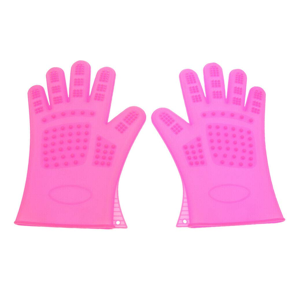 Agordo 2Pc Cleaning Brush Magic Glove Pet Dog Cat Massage Hair Removal Grooming Groomer (Color - Pink)