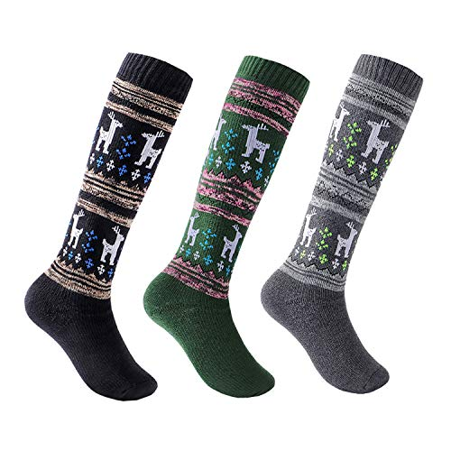 Kids Ski Socks 3 Pack Over Calf Thicken Cotton Elk Pattern Winter Sport Socks 7-13 Years Boys/Girls (Black + Green + Grey) (Ski Kids Socks Pack)