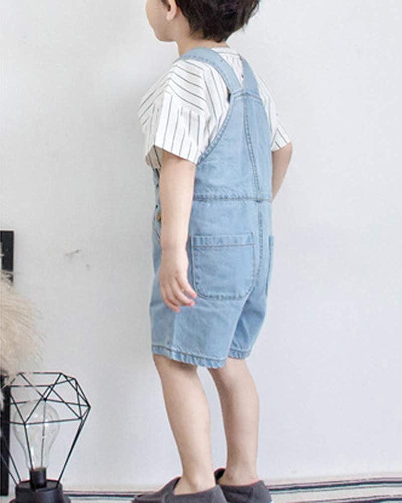 Ni/ños Beb/é Pantalones De Peto Vaqueros Overalls Pantal/ón Cortos Ajustable