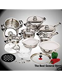 Gain 28pc 12-Element T304 18/10 Waterless Stainless Steel Cookware Set Pots & Pans save
