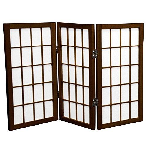Oriental Furniture 2 ft. Tall Desktop Window Pane Shoji Screen - Walnut - 3 Panels