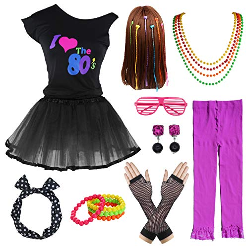 80's Party Girls Retro Costume Accessories Set for 1980s Theme Party Supplies (8-10, ()
