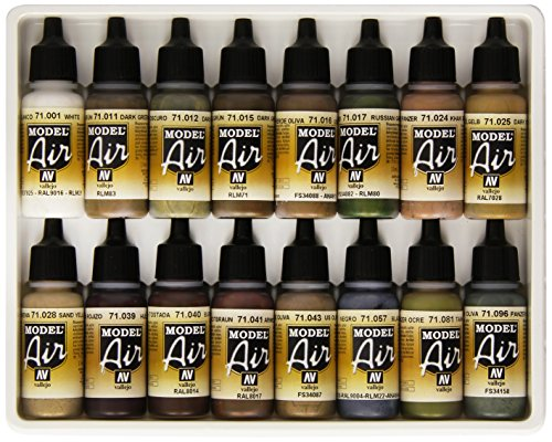 Vallejo WWII German/Allied 16 Color Paint (Airbrush Set Model)