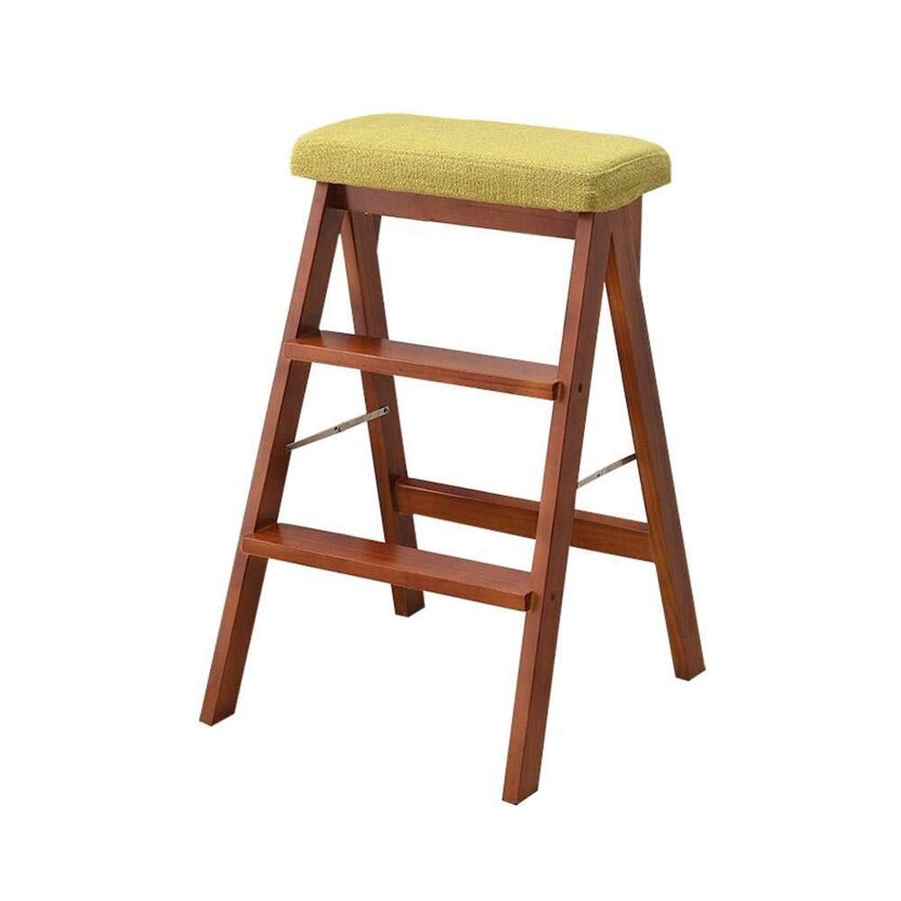 C Ladder Step Stool, Foldable Multipurpose 3 Steps Unilateral Ladder Solid Wood Stool for Kitchen Bedroom (color   A)