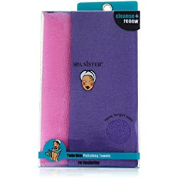 Bath Accessories New Bigger Twin Skin Polishing Towels, Pink and Purple