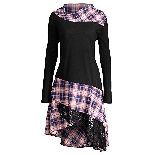 Women Casual Lace Plaid Panel Plus Size Long Top Blouses T-Shirt, Black, XXXX-Large