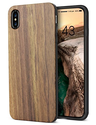 Walnut Wood Case - iPhone X Case Wood, Nature Cool Wooden Walnut Grain Stylish Design Shock Absorption Case for Apple iPhone X (Walnut)