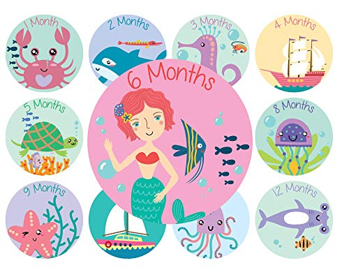Baby Monthly Stickers | Mermaid Baby Stickers | Babys First Year 12 Monthly Milestone Stickers Plus 12 Holiday and Special Occasion Stickers