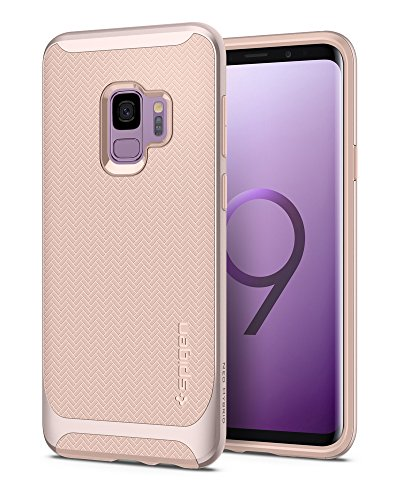 Spigen Neo Hybrid Galaxy S9 Case with Flexible Herringbone Pattern Protection and Reinforced Hard Bumper Frame for Samsung Galaxy S9 (2018) - Pale Dogwood
