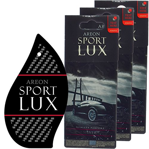 Fragrance Perfume Air Freshener - Areon Sport LUX Quality Perfume/Cologne Cardboard Car & Home Air Freshener, Silver (Pack of 3)