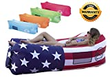 Banzai Unlimited Inflatable Lounger Air Sofa Couch Hammock with Bottle Opener 4 Pockets Headrest Securing Stake & Travel Bag. Blowup LayBag for Beach Camping Pool Float Indoors Outdoors (USA)