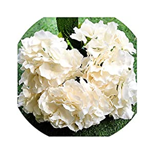 Artificial Flowers for Wedding Hydrangea Silk Flower Bouquet for Home Garden Party Birthday Decoration 5 Heads/Bunch,Beige 47