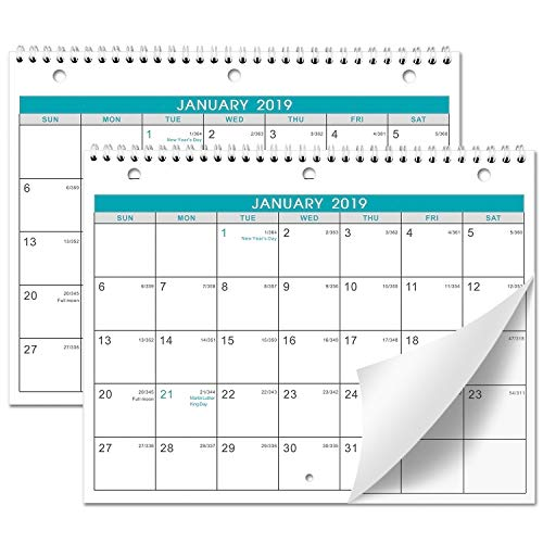 Calendar 2019-2 Pack of Wall/Desk Calendar with Julian Date & Memoranda Lined Pages, January 2019 - December 2019, Thick Paper, Bonus 2020 Yearly Planning, 8.5 x 11 Inches