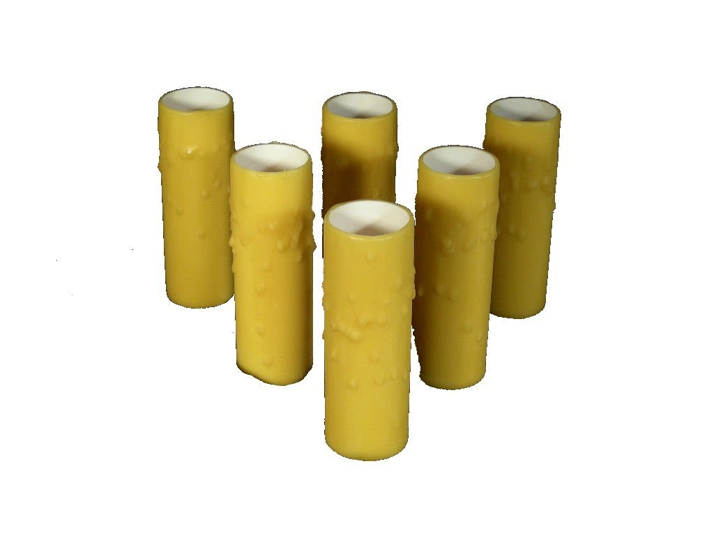 Set of 6 pc. 3'' Tall Golden Rod. LARGE DIAMETER Edison WIDE BASE 1-1/4'' INNER DIAMETER x 1-1/2'' OUTER DIAMETER Beeswax Candle Covers. Sleeves that slide over existing sockets. Several Diameters avail
