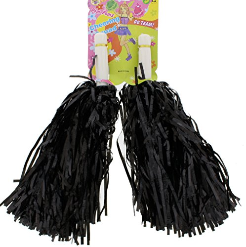 Cheerleader Jock Costume - Zac's Alter Ego Fancy Dress Tinsel Cheerleader Pom Poms Black
