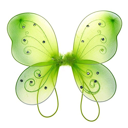 Green Costume Wings (Homeford Firefly Imports Organza Nylon Butterfly Wings with Glitters, 12-Inch, Apple)