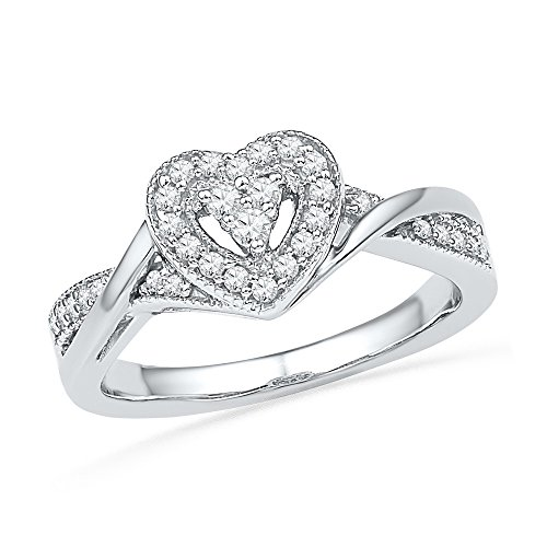 10kt White Gold Womens Round Diamond Heart Love Ring 1/4 Cttw (I2-I3 clarity; I-J color) by Jewels By Lux (Image #1)