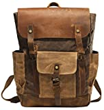 Partrisee Vintage Canvas Leather Backpack for Men Women Girls Student Large 15.6'' Waxed Rucksack School Gift Bag-Coffee