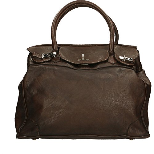 Chicca Woman Bag In Genuine Leather Vintage Borse Made In Italy 37x36x18 Cm Dark Brown