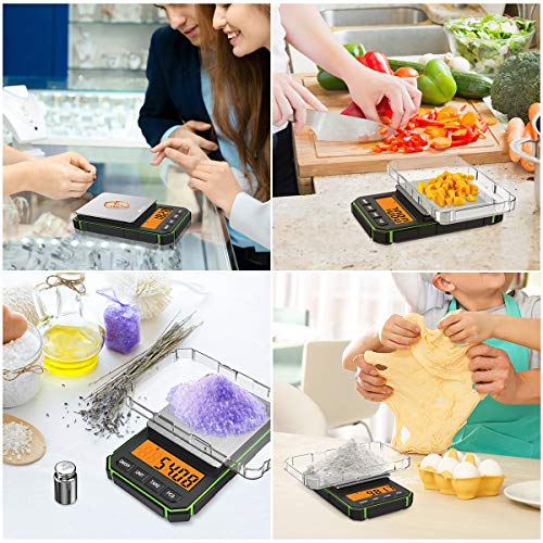 (NEW VERSION) Brifit Mini Digital Weighing Scale, 300g by 0.01g, Multifunctional Kitchen Scale, Pocket Scale, Food Scale, Jewelry Scale Green, Kitchen Scale 300g (Battery Included)
